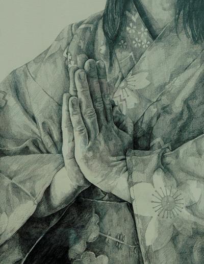 """""""Gassho"""" Peinture de Laurie ledingham"""